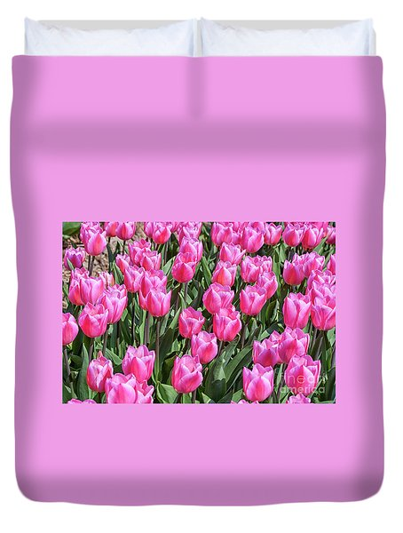 Duvet Cover featuring the photograph Tulips In Pink Color by Patricia Hofmeester