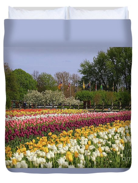 Tulips In Rows Duvet Cover