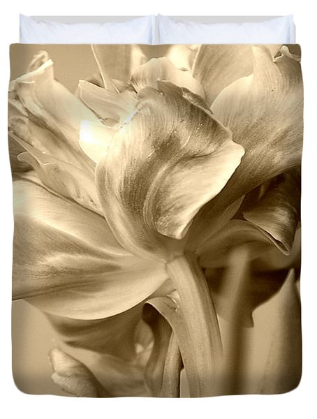 Tulips In Sepia Duvet Cover
