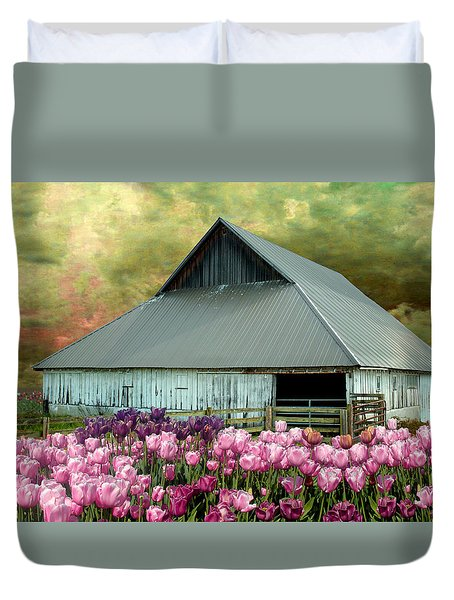 Tulips In Skagit Valley Duvet Cover