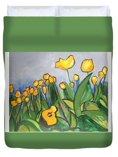 Duvet Cover featuring the painting Tulips In Springtime by Esther Newman-Cohen