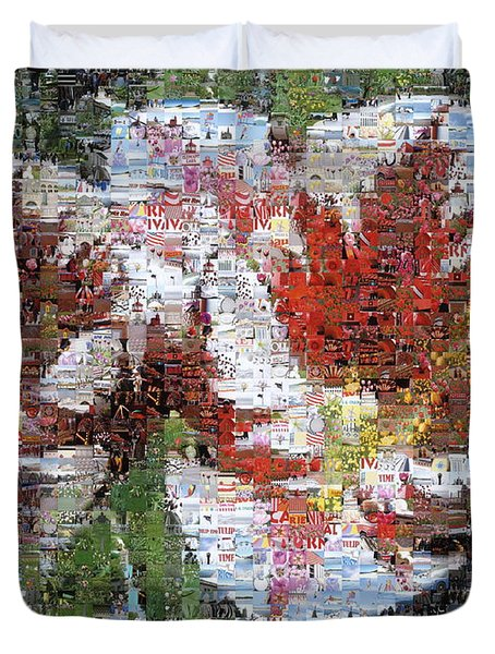 Tulips In Springtime Photomosaic Duvet Cover by Michelle Calkins