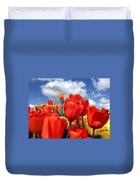 Tulips In The Sky Duvet Cover