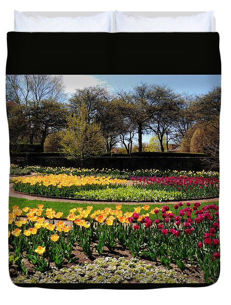 Tulips In The Spring Duvet Cover by Teresa Schomig