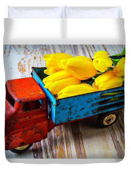 Tulips In Toy Truck Duvet Cover by Garry Gay