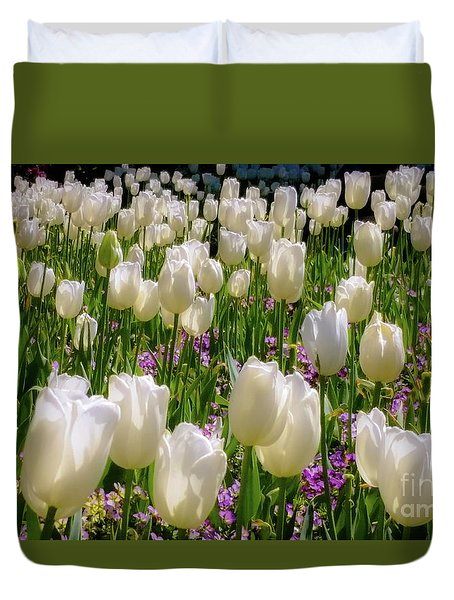 Duvet Cover featuring the photograph Tulips In White by D Davila