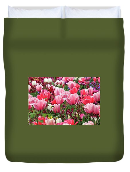 Duvet Cover featuring the photograph Tulips by James Eddy