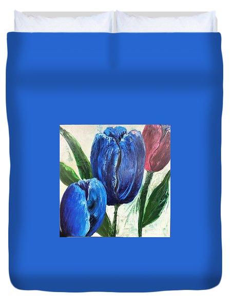 Tulips Large Oil Flowers Duvet Cover