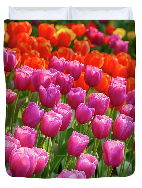 Duvet Cover featuring the photograph Tulips Mean Spring by Mary Jo Allen