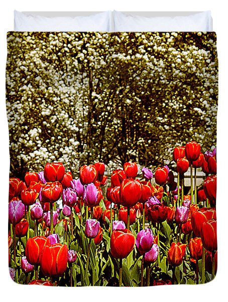 Duvet Cover featuring the photograph Tulips by Milena Ilieva