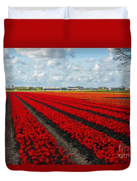 Duvet Cover featuring the photograph Tulips by Mim White