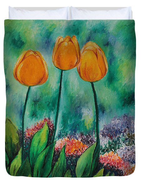 Duvet Cover featuring the painting The Three Tulips by Miriam Shaw