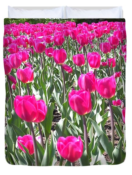 Duvet Cover featuring the photograph Tulips by Mary-Lee Sanders