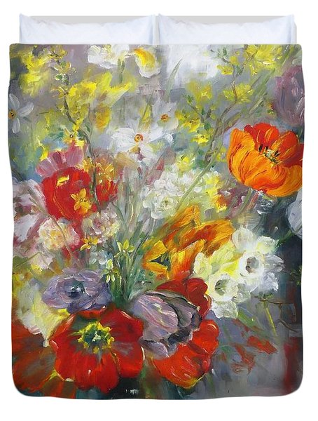 Tulips, Narcissus And Forsythia Duvet Cover