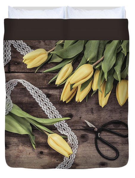 Duvet Cover featuring the photograph Tulips Of Spring by Kim Hojnacki