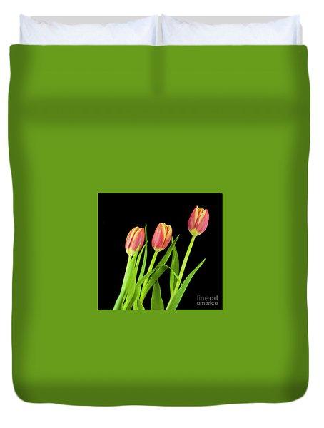 Tulips On Black Duvet Cover