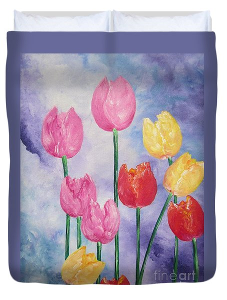 Ten  Simple  Tulips  Pink Red Yellow                                Flying Lamb Productions   Duvet Cover