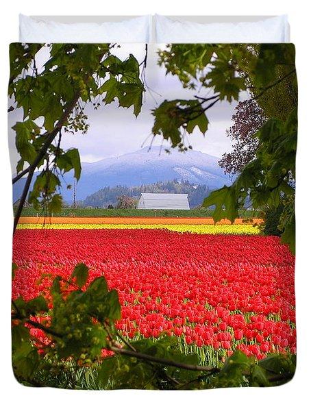 Tulips Secret Window Duvet Cover by Louise Magno
