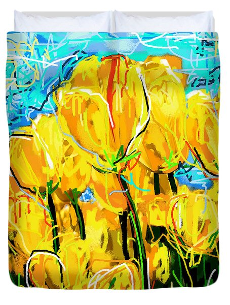 Duvet Cover featuring the digital art Tulips by Sladjana Lazarevic