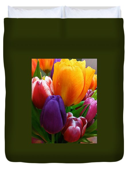 Duvet Cover featuring the photograph Tulips Smiling by Marie Hicks