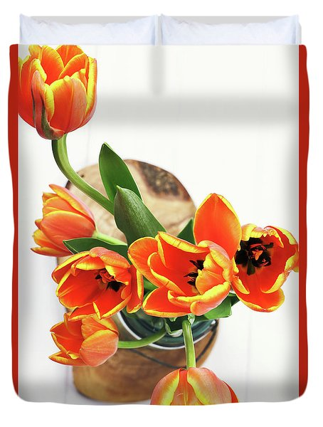 Duvet Cover featuring the pyrography Tulips by Stephanie Frey