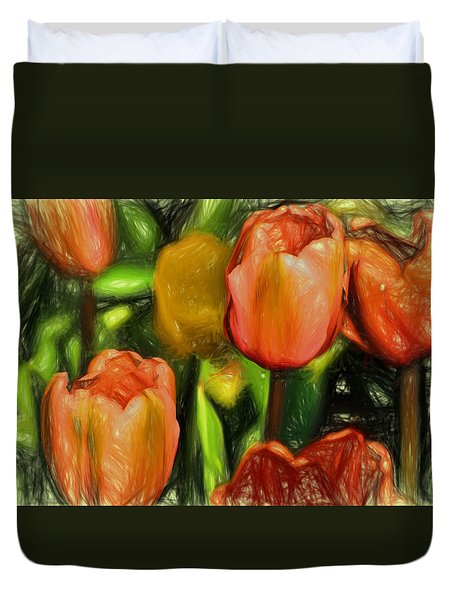 Tulips  Duvet Cover by Terry Cork