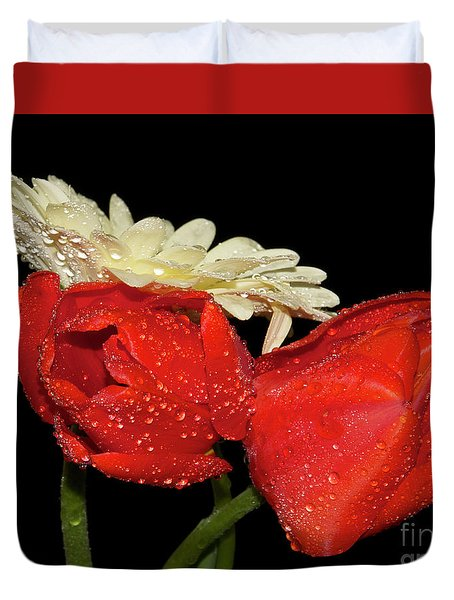 Duvet Cover featuring the photograph Tulips With Gerber by Elvira Ladocki