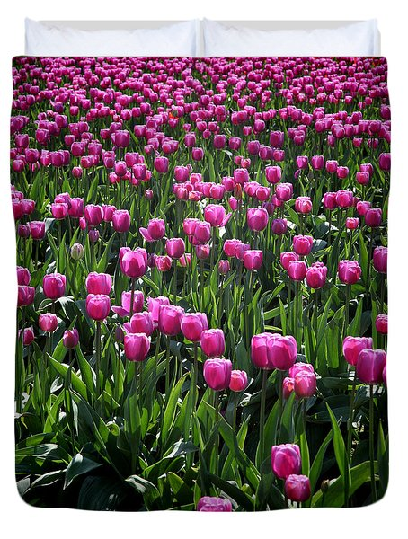 Duvet Cover featuring the photograph Purple Tulips by Peter Simmons
