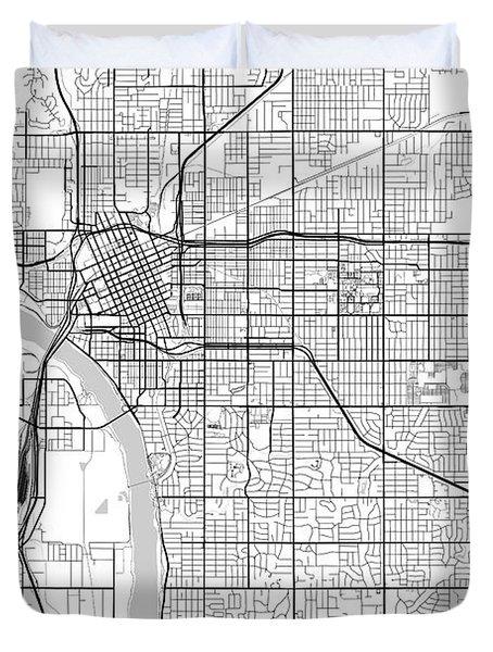Tulsa Oklahoma Usa Light Map Duvet Cover