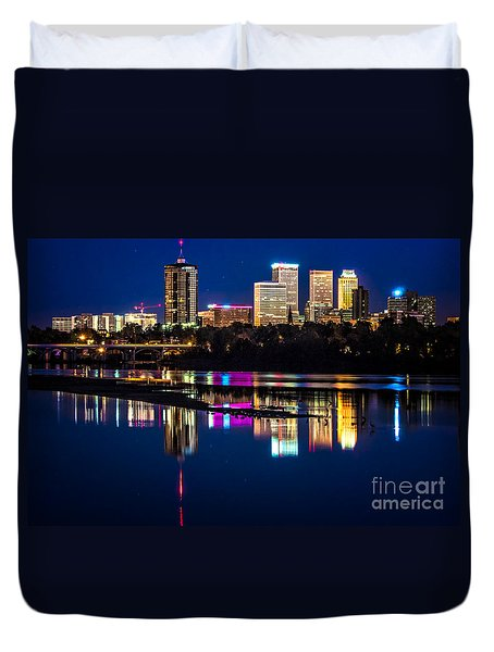 Tulsa Skyline At Twilight Duvet Cover