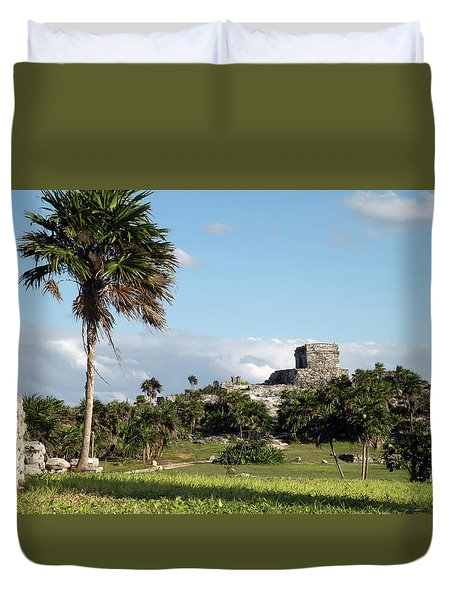 Duvet Cover featuring the photograph Tulum Mexico by Dianne Levy