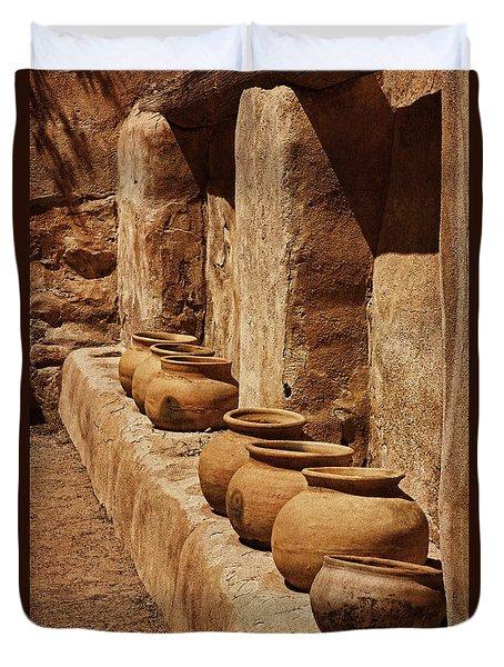 Tumaca'cori Antique Pots Txt Duvet Cover