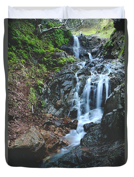 Duvet Cover featuring the photograph Tumbling Down by Laurie Search