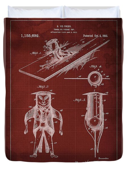 Tumbling-figure Toy Patent Year 1915 Blueprint Red Background Duvet Cover