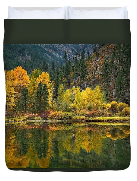 Tumwater Reflections Duvet Cover by Lynn Hopwood