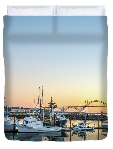 Tuna Boats Resting For The Night Duvet Cover