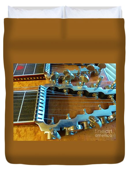 Tuning Pegs On Sho-bud Pedal Steel Guitar Duvet Cover