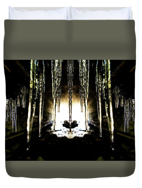 Tunnel Icicles Reflection Duvet Cover