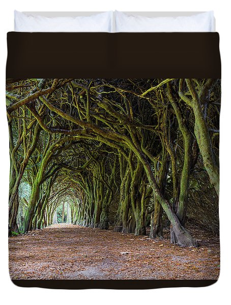 Duvet Cover featuring the photograph Tunnel Of Intertwined Yew Trees by Semmick Photo