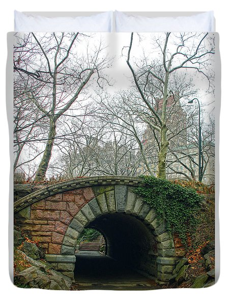 Tunnel On Pathway Duvet Cover by Sandy Moulder