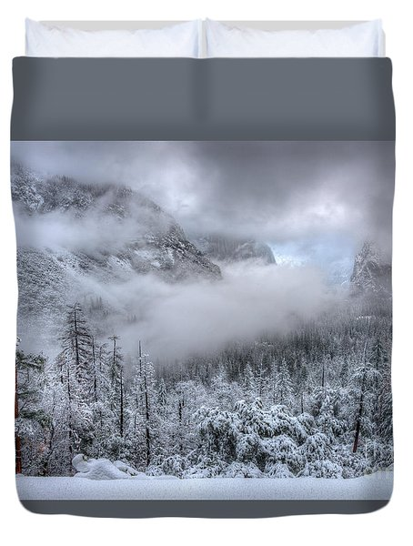 Tunnel View Yosemite National Park Ansel Adams Duvet Cover