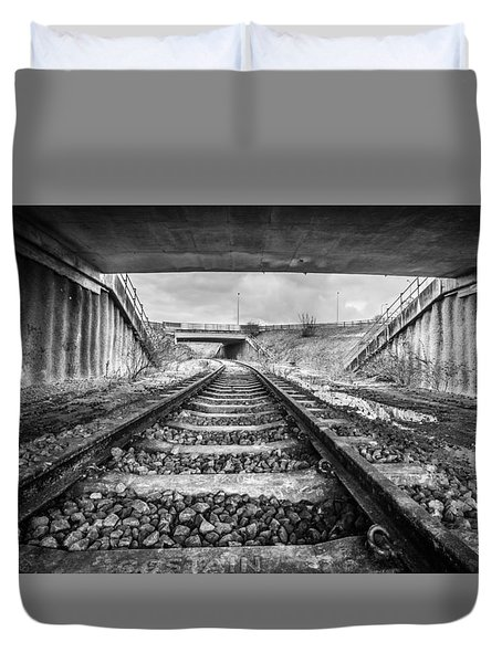 Duvet Cover featuring the photograph Tunnels And Tracks by Gary Gillette