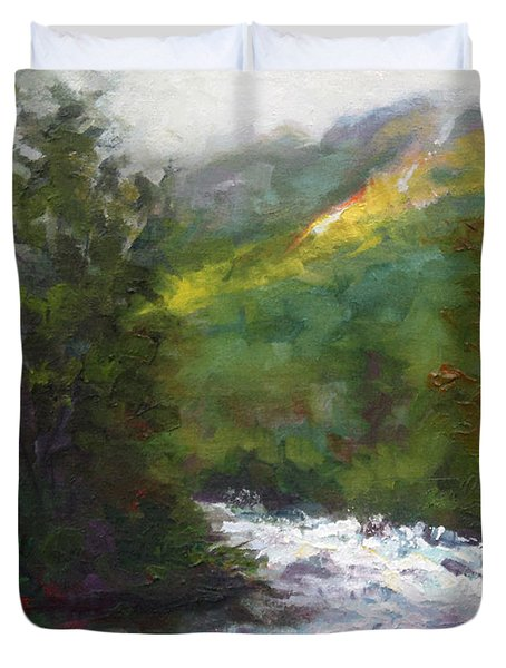 Duvet Cover featuring the painting Turbulence by Talya Johnson