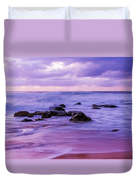 Turbulent Daybreak Seascape Duvet Cover