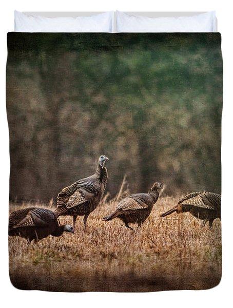 Turkey Day At Grandpas Farm Duvet Cover by Jai Johnson