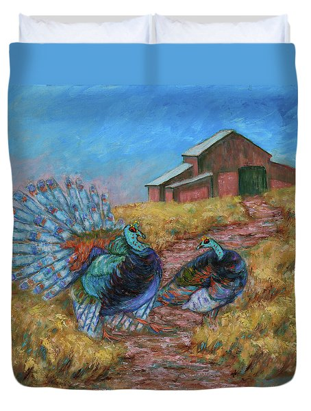 Duvet Cover featuring the painting Turkey Tom's Tango by Xueling Zou