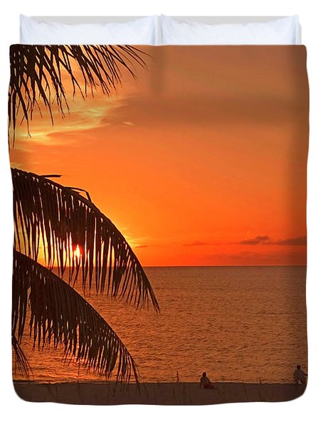 Turks And Caicos Sunset Duvet Cover by Stephen Anderson