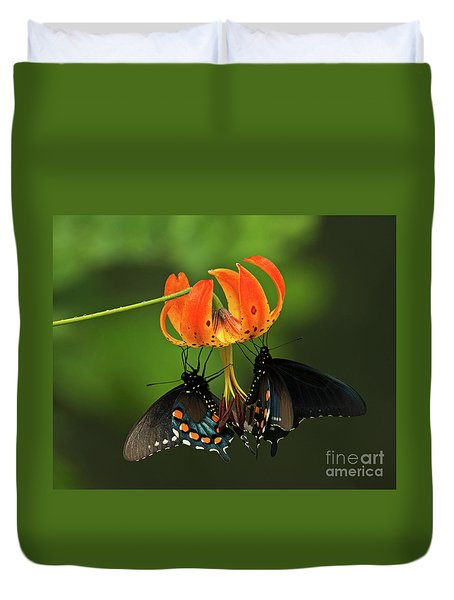 Turks Cap Lilly And Butterflies, Blue Ridge Parkway Duvet Cover