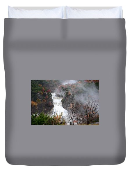 Turner Falls And Steam Duvet Cover