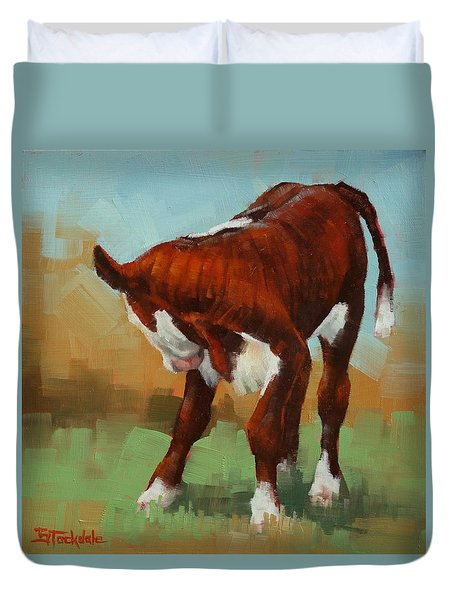 Duvet Cover featuring the painting Turning Calf by Margaret Stockdale